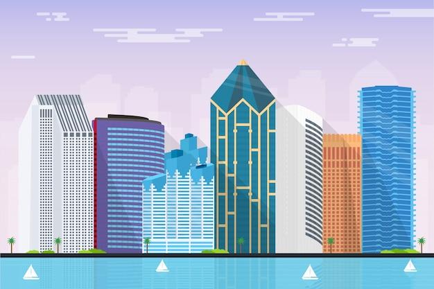 The city skyline of san diego illustration