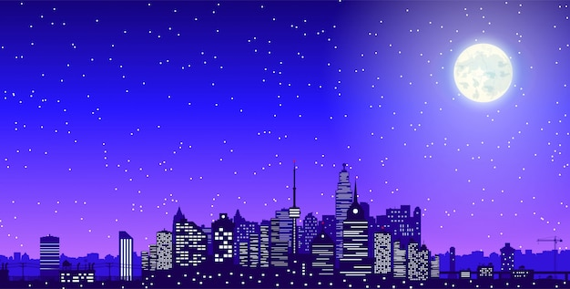 夜の街のスカイラインシルエット