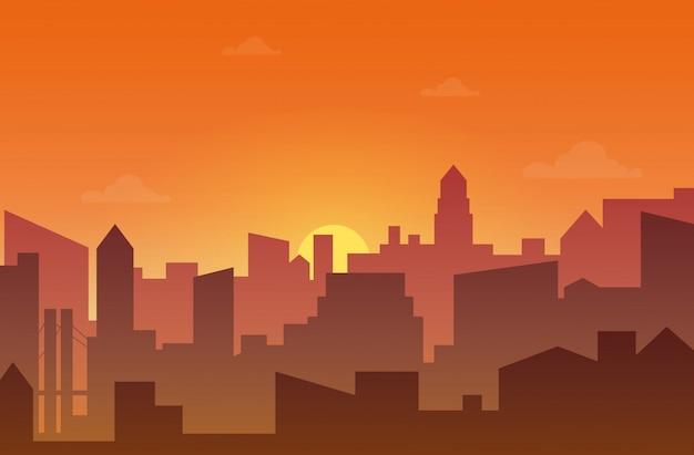 Город небоскребов силуэт на закате или закате