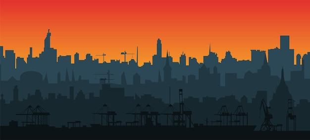 Городской силуэт горизонта в плоском стиле на закате. слои для параллакса. современный городской пейзаж. грузовой порт с кранами. eps10 вектор.