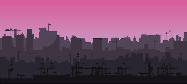 분홍색 일몰의 현대적인 도시 경관과 크레인이 있는 화물 항구에서 평면 스타일의 도시 스카이라인 실루엣
