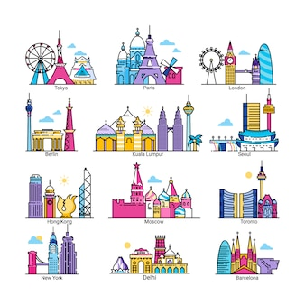 City skyline of world famous capital  illustrations, cityscape of european, asian, american country