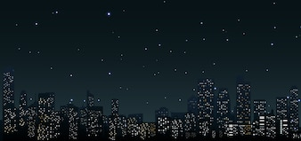 City skylines at night at urban scene