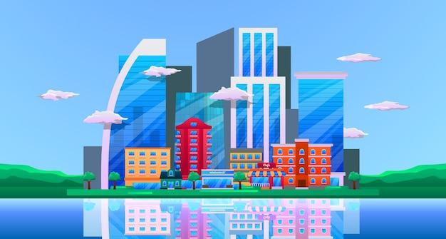 도시 마천루 건물, 비즈니스 건물, 반사와 타워와 바다와 도시 시내 풍경 풍경