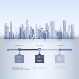 City skyscraper view cityscape background skyline silhouette with copy space infographics