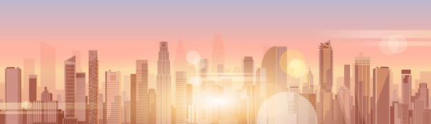 City skyscraper view cityscape background skyline silhouette with copy space