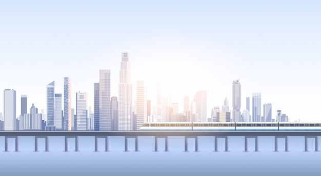 City skyscraper view cityscape background skyline train silhouette with copy space
