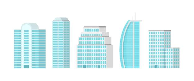 白い背景に分離された都市の高層ビル。市内中心部に輝くガラスのファサードを備えた高層ビル。モダンなフラットイラスト。