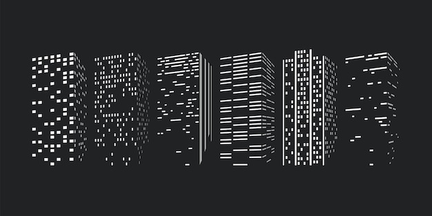 City skyscrappers silhouettes in set on dark