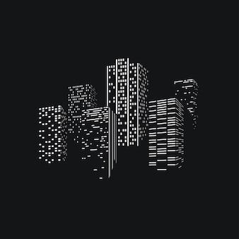 Городские небоскребы на фоне линии горизонта на темной спине