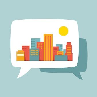 A city in a speech bubble