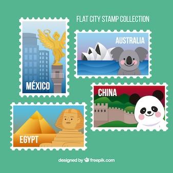 유명한 랜드 마크와 도시 우표 수집