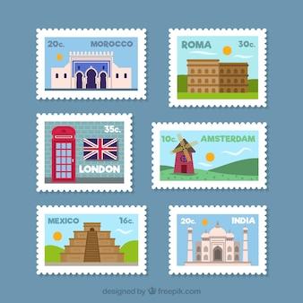 Collezione di francobolli della città in stile piatto