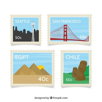 평면 스타일의 도시 우표 수집