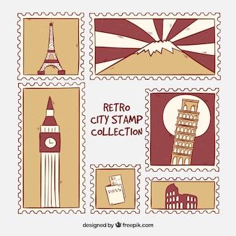 Коллекция городских марок в стиле ретро