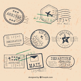 City stamps collection in retro style
