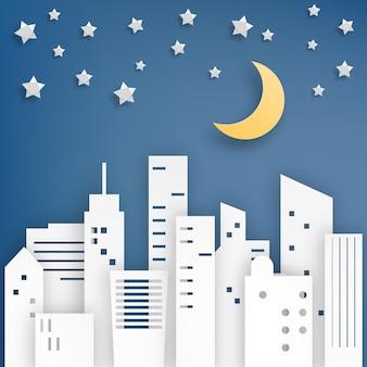 City star paper art style vector illustration