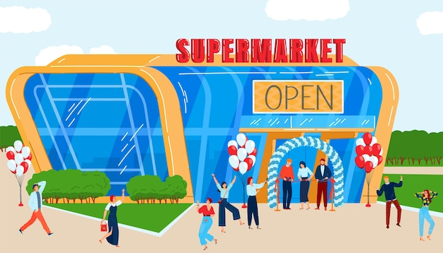 City store opening flat vector illustration. cartoon modern urban cityscape with happy people celebrate opening event of new local supermarket shopping
