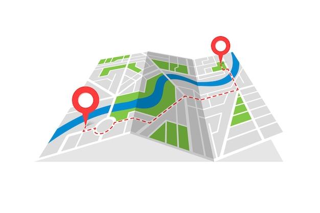 Gps位置の場所のピンとポイントマーカー間のナビゲーションの赤いルートを備えた街路地図作成の折り畳まれた地図の計画。道を見つけるパス方向概念ベクトル透視図等角図
