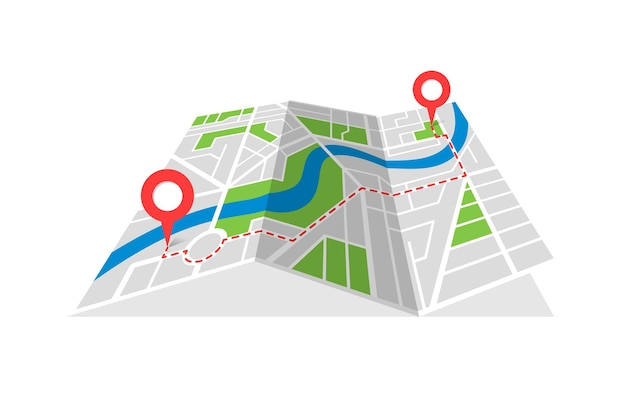 City street cartography folded map plan with gps location place pins and navigation red route between point markers. finding way path direction concept vector perspective view isometric illustration