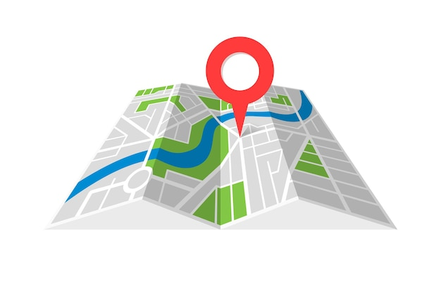 City street cartography folded map with navigation location pin pointer. finding the way direction concept symbol vector illustration