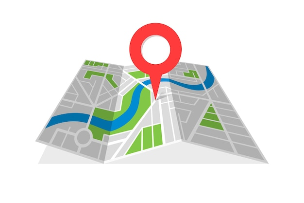 City street cartography folded map with navigation location pin pointer. finding the way direction concept vector illustration