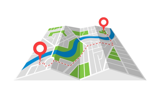 City street cartography folded paper map plan with gps location place pins and navigation route between point markers. finding way path direction concept perspective view isometric vector illustration