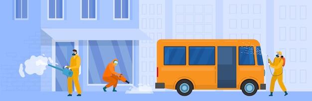 Дезинфекция улицы города, иллюстрация. люди в защитных костюмах работают против коронавируса, профилактики эпидемического карантина.