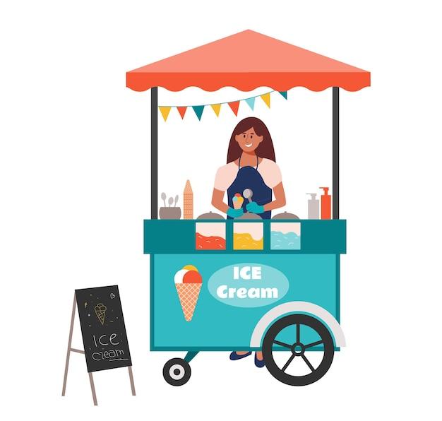 アイスクリームコーンを持ってカウンターの後ろに立つ街の通りのアイスクリーム屋台の売り手デザートを売る