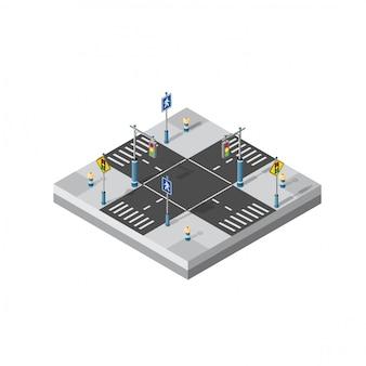City street intersection isometric