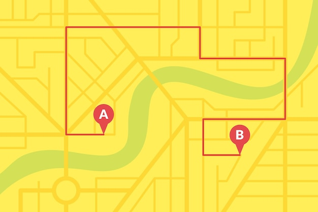 City street map plan with gps pins and navigation route from a to b point markers. vector yellow color eps illustration schema