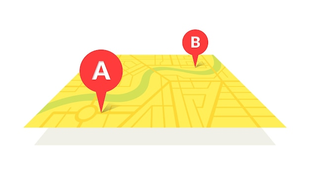 City street map plan with gps pins and navigation route from a to b point markers. vector yellow color perspective view isometric illustration location schema