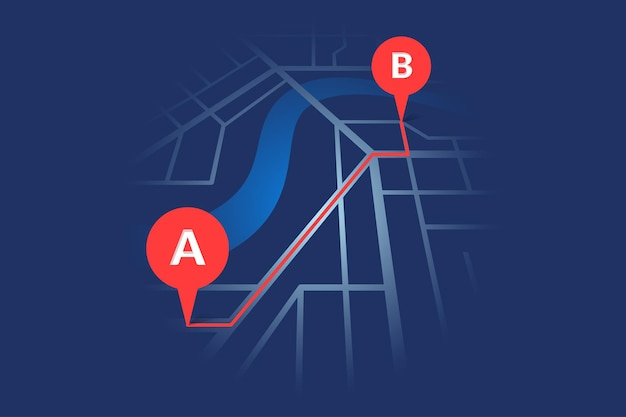 City street map plan with river gps place pins and navigation red route between a to b point markers. vector dark blue color perspective view isometric eps illustration location schema