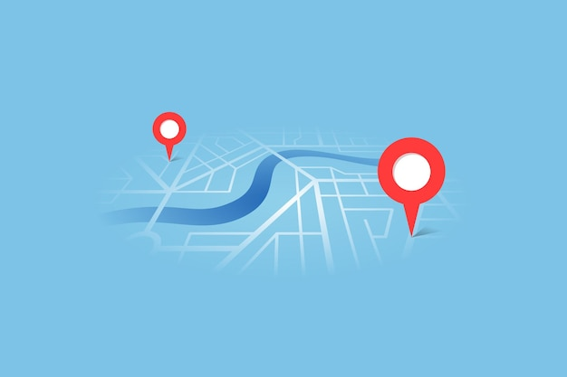 City street map plan with river gps place pins and navigation route between point markers. vector blue color perspective view isometric eps illustration location schema