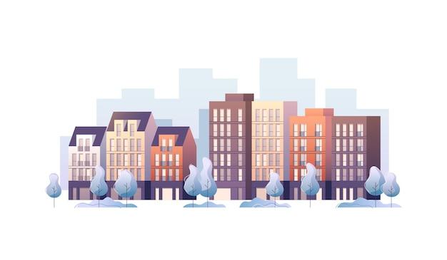 Городская улица панорамный городской пейзаж. иллюстрация.