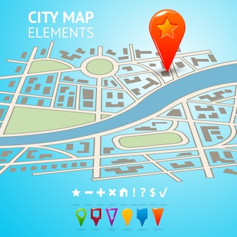 City street road route decorative map with navigation markers and pins vector illustration