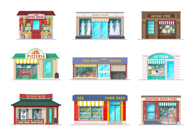 City street shops cartoon buildings. vector spice house, bridal salon and pizzeria cafe, antique store, bike service and ice cream gelateria, sushi bar, pawn shop and wrapping paper store facade