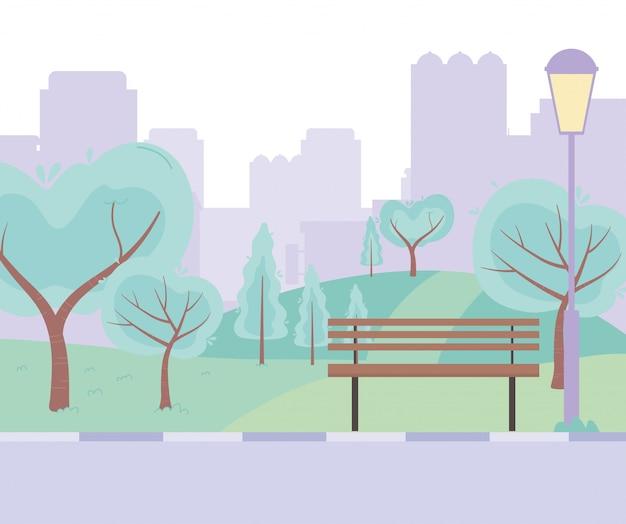 Городская улица городская парковая скамейка дорога деревья луг дизайн