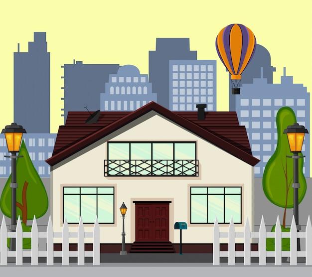 새로운 단층집이있는 도시 거리. 만화 스타일. 삽화.