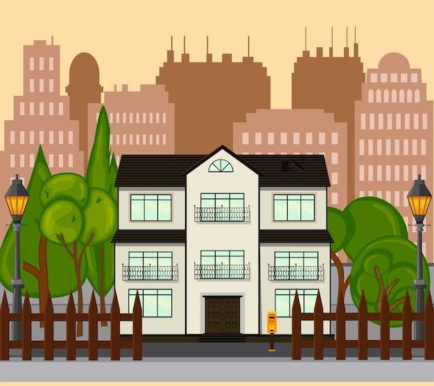 새로운 단층집이있는 거리. 만화 스타일.
