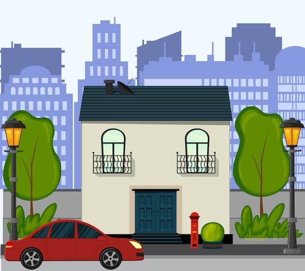 새로운 단층집이있는 거리