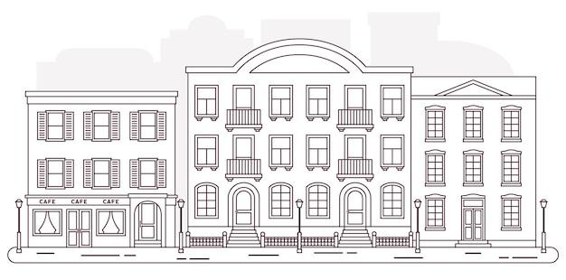 建物のある街の通りベクトルアウトラインフラットスタイルの家漫画家の街並みの背景線形イラスト