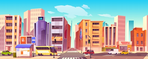 City street with houses, road and cars Free Vector