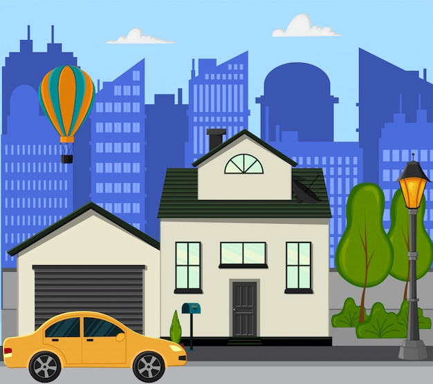 City street with a new one-story house. cartoon style. vector illustration