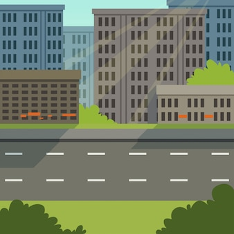 City street with road and city buildings, modern cityscape, urban background   illustration
