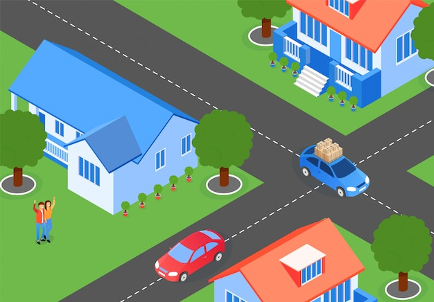 City streets neighboring houses cartoon flat