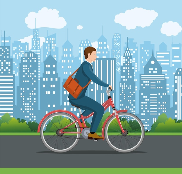 街の通りを自転車に乗るバッグを持ったシティースタイルのビジネスマン