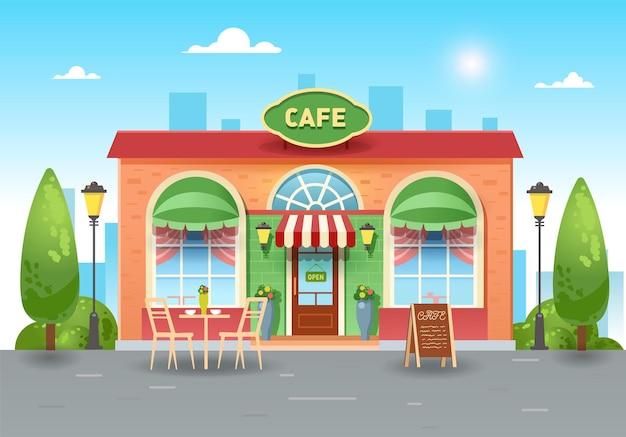 Городское летнее кафе. яркая кофейня в городе со столиком. плоская иллюстрация