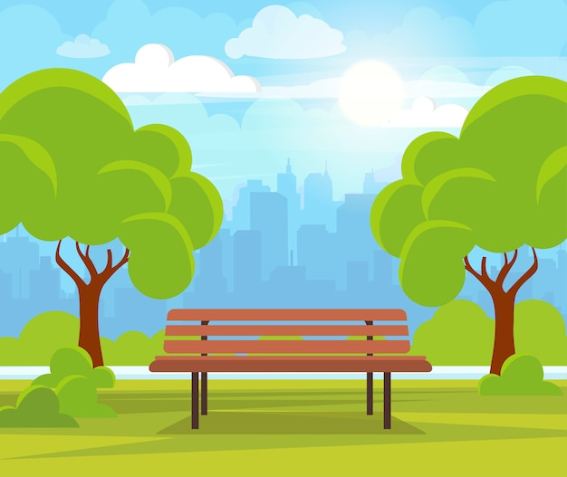 City summer park with green trees and bench.