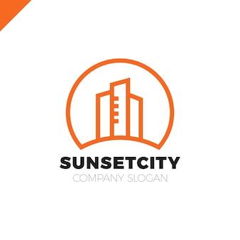 City in sun icon logo design element